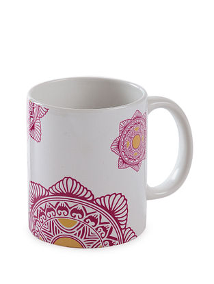 White Ceramic Coffee Mug (L:5in, W:3.2in, H:3.7in)