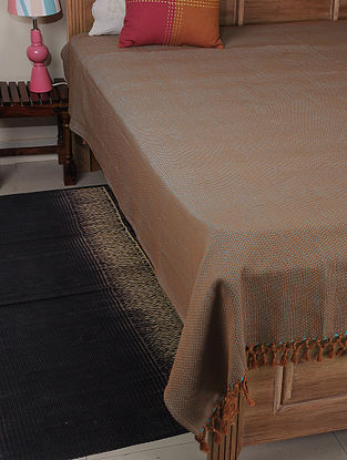 Brown-Blue Double Square Cotton Double Bed Cover 102in x 85in
