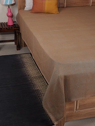 Brown-Blue Double Square Cotton Single Bed Cover 87in x 60in