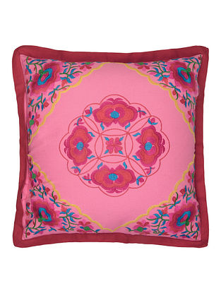 Rose Cotton Bagh Corners Embroidered Cushion Cover 16in x 16in