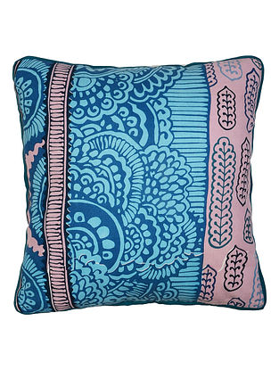 Blue Cotton Mohuz Printed Cushion Cover 16in x 16in