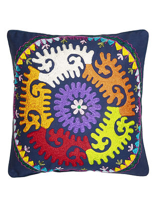 Multi-Color Cotton Folk Mandala Embroidered Cushion Cover 16in x 16in