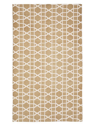 Beige Cotton Lattice Design Dhurrie 60in x 35in
