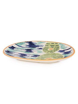 Blue-Green Ceramic Tray 10.6in x 6.3in x 1in