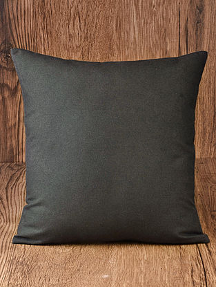 Charcoal Solid Cotton Cushion Cover 16in x 16in