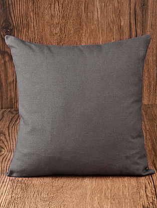 Dary Grey Solid Cotton Cushion Cover 16in x 16in