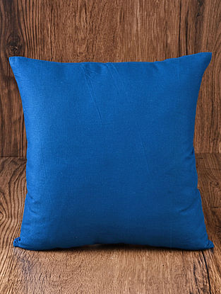 Blue Solid Cotton Cushion Cover 16in x 16in