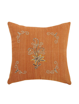 Orange Embroidered Cotton Cushion Cover (L:12in, W:12in)