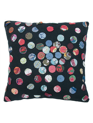 Multi-Color Black Petti Circles Appliqued Cotton Cushion Cover by The Shop 16in x 16in