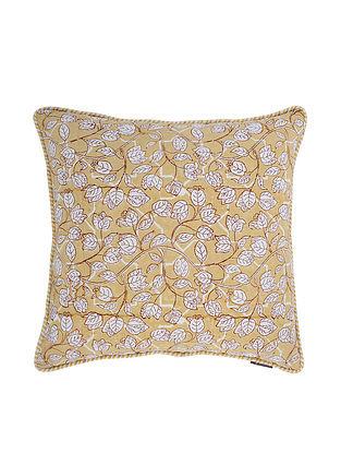 Multicolored Block-printed Cotton Cushion Cover (L:18in, W:18in)