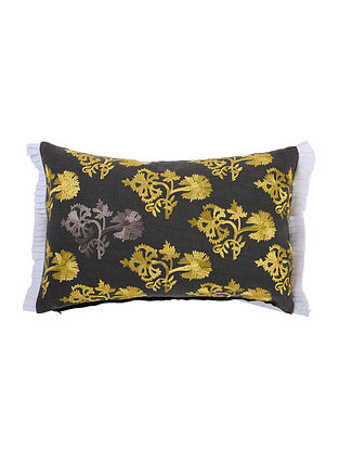 Multicolored Embroidered Cotton Cushion Cover (L:18in, W:11.5in)