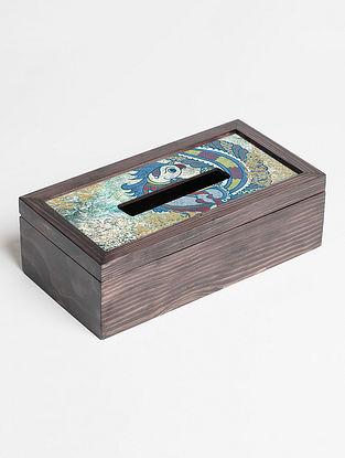 Hand-polished Digital-printed Wood Tissue Box with Kalamkari-inspired Parrot Motif
