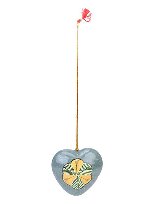 Grey-Multicolor Floral Hand-painted Papier-mache and Wood Mobile Charm with Heart Design
