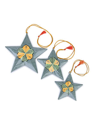 Grey-Multicolor Floral Hand-painted Papier-mache and Wood Mobile Charm with Star Design (Set of 3)