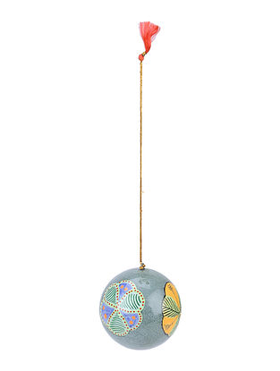 Grey-Multicolor Floral Hand-painted Papier-mache and Wood Mobile Charm
