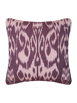 Maroon-Off White Central Asian Ikat Mercerized Cotton Cushion Cover - 16in x 16in