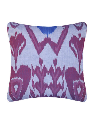 Grey-Purple Central Asian Ikat Mercerized Cotton Cushion Cover - 16in x 16in