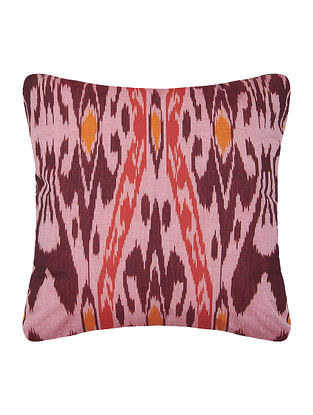 Pink-Rust Central Asian Ikat Mercerized Cotton Cushion Cover - 16in x 16in