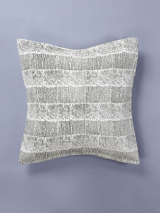 Hand Woven - Hand Block Printed White-Black Cotton Floor Cushion Cover