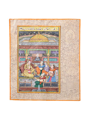 Mughal Miniature Vintage Painting on Handmade Paper (L:8in, W:6.5in)