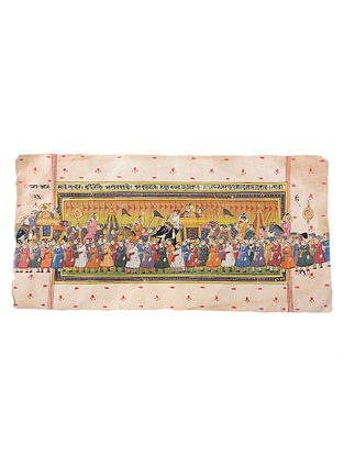 Mughal Miniature Vintage Painting on Handmade Paper (L:6.5in, W:13in)