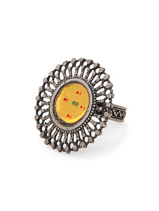 Yellow Tribal Silver Ring (Ring Size - 9)