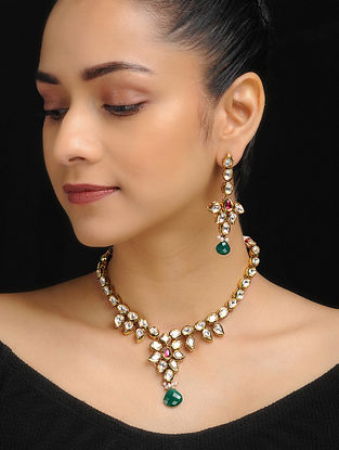 Red-Green Gold Tone Kundan Inspired Necklace with Earrings (Set of 2)