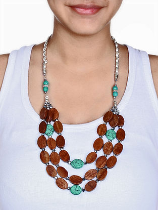 Turquoise Tropical Wood Shell Layered Necklace