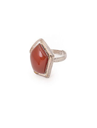 Red Silver Tone Adjustable Ring