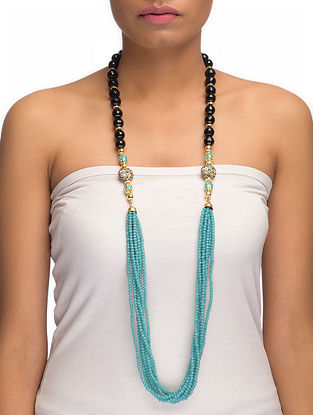 Onyx and Crystal Beaded Necklace