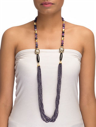 Agate and Onyx Beaded Necklace with Crystals