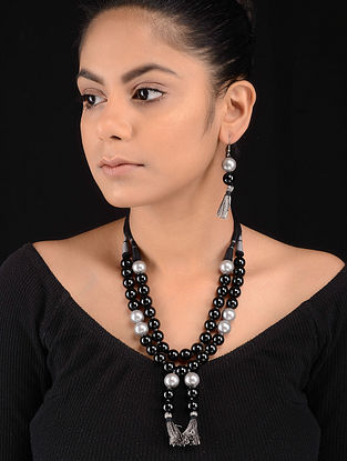 Black-Grey Beaded Necklace with Earrings (Set of 2)