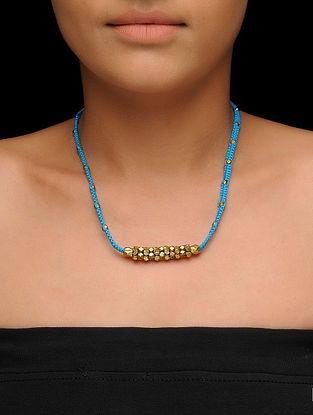 Blue Thread Brass Necklace with Dhokra Work