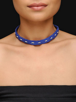 Blue Cotton Upcycled Choker with Beads