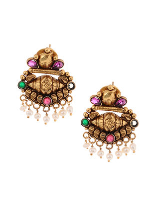 Pink-Green Gold-plated Temple Silver Earrings with Pearls