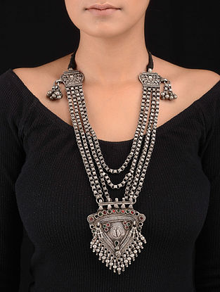 Red-Green Tribal Silver Necklace