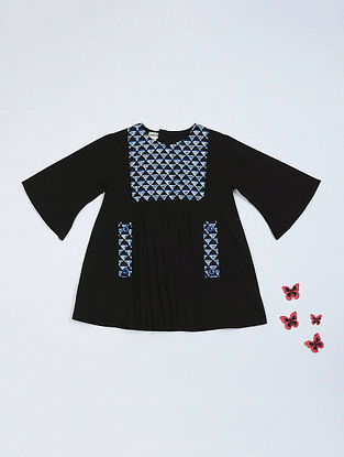 Black-Blue  Geometric Print Pleated Cotton Dress