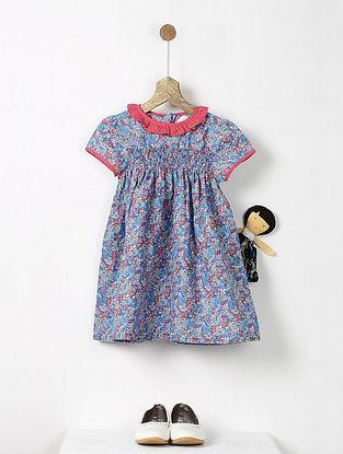 Blue-Red Floral Print Smock Cotton Dress
