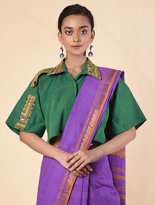 Green Cotton Shirt Blouse with Embroidery Patchwork