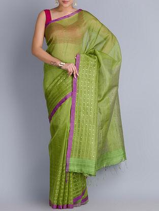 Green-Purple Matka Silk Handwoven Jamdani Saree