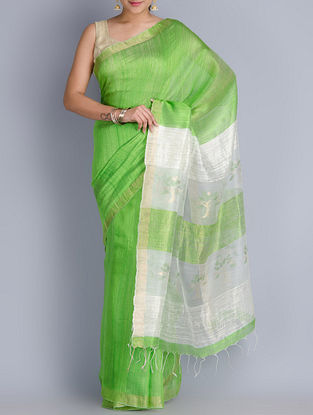 Lime Green Matka Silk Zari Handwoven Jamdani Saree