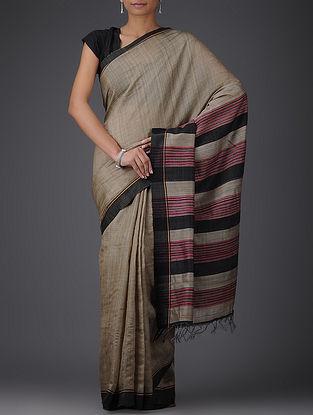 Beige-Black Handwoven Bhagalpuri Tussar Silk Saree