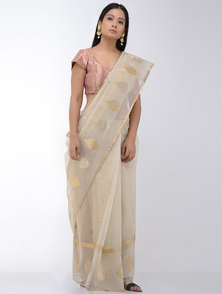 Cream Benarasi Organza Saree