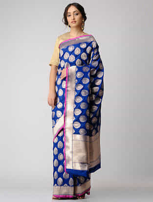Blue Benarasi Cut-work Silk Saree