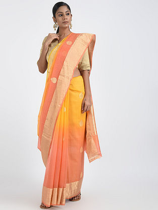 Yellow-Pink Benarasi Cotton Saree