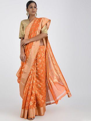 Orange Benarasi Cotton Saree