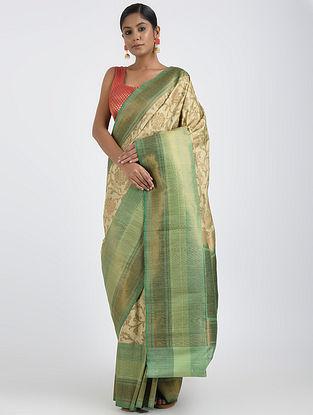 Beige-Green Benarasi Dupion Silk Saree