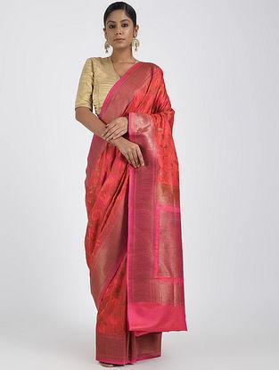 Pink Benarasi Muga Silk Saree