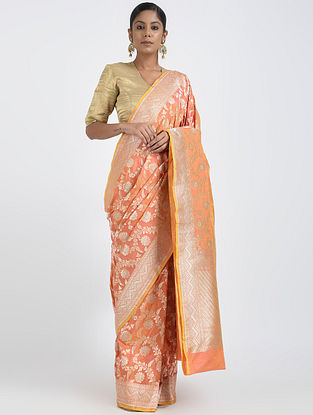 Peach Benarasi Silk Saree