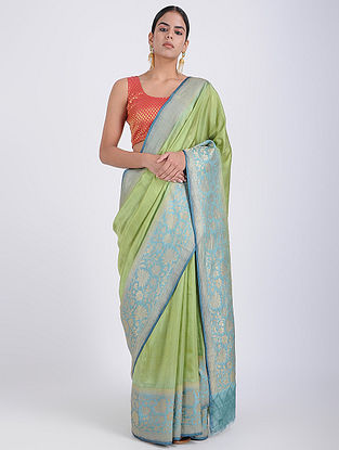 Green-Blue Benarasi Silk Saree